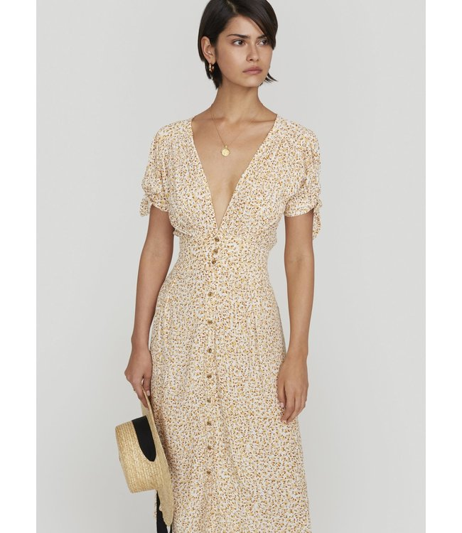 BILLIE MIDI DRESS - DAHLIA FLORAL NUDE