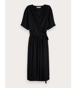 SCOTCH AND SODA WRAP OVER DRESS - 860 - BLACK