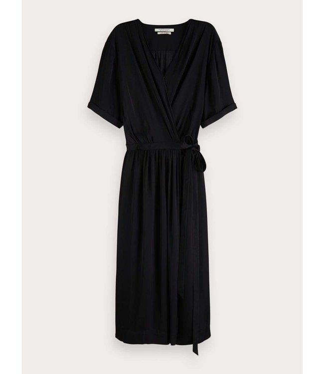 SCOTCH AND SODA WRAP OVER DRESS - 860 - BLACK