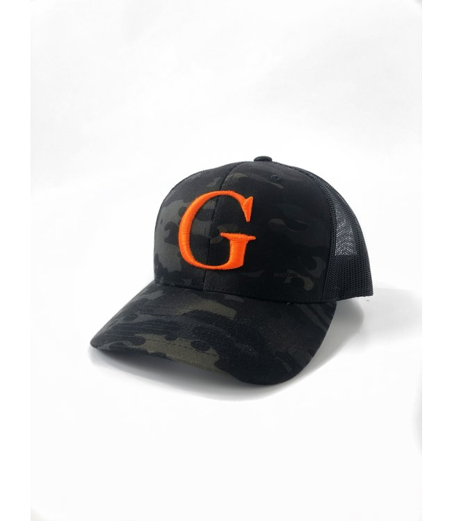 "GLORIUS CAMO CAP - ""G"" ORANGE - SNAP BACK"