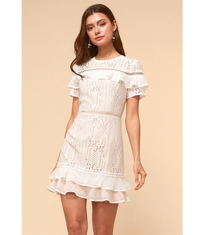 ADELYN RAE ANNA LACE DRESS - WHITE NUDE