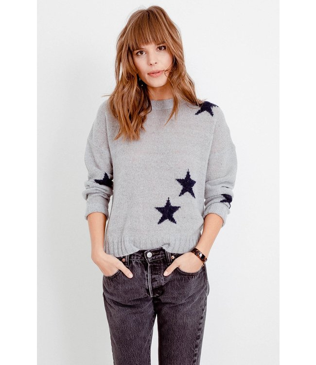RAILS PERCI SWEATER - LT GREY STARS