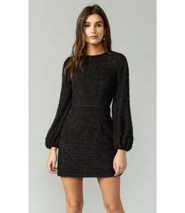 GREYLIN KNIT LS DRESS - 3820 - BLACK