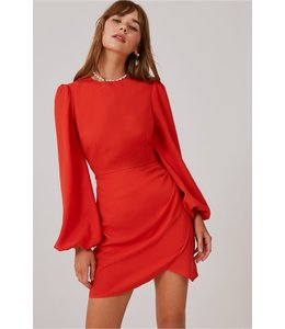 FINDERS KEEPERS CHAINS LS DRESS - 1057 - ORANGE