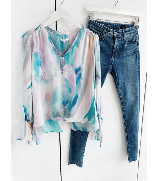 PARKER CASSIDY BLOUSE - PASTEL SWIRL