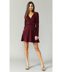 GREYLIN VELVET TIE DRESS - 3811 - BURGUNDY