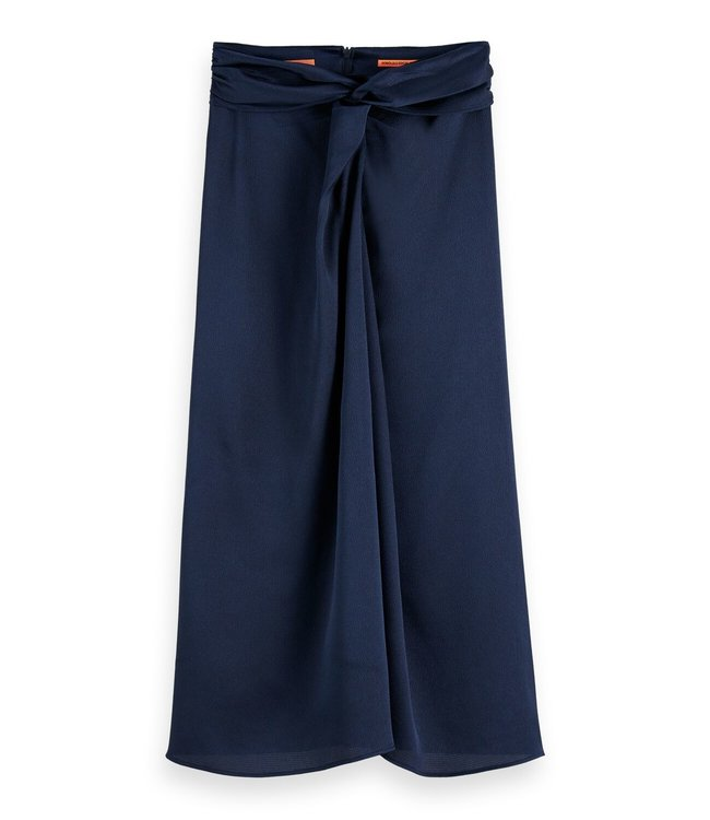KNOT MIDI SKIRT - 445 - NAVY