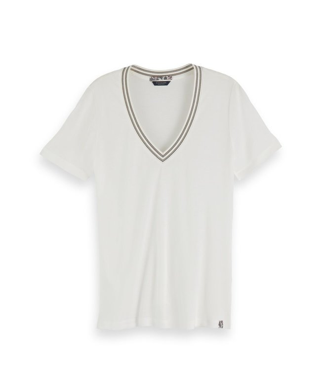 SCOTCH AND SODA VNECK TEE - 067 - IVORY -