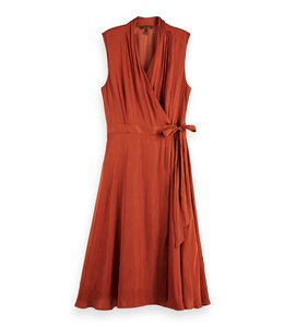 SCOTCH AND SODA WRAP DRESS - 410 - COPPER