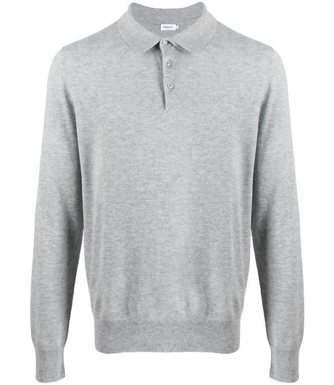 knitted polo shirt - 25977 - grey