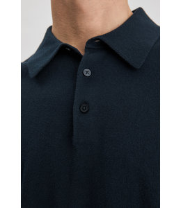 knitted polo shirt - 25977 - NAVY