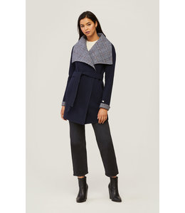 BRIDGETTE WOOL COAT WITH PLAID - INDIGO -