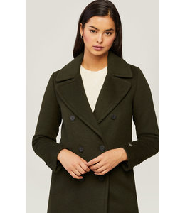 SOIA & KYO EVETTE CLASSIC WOOL COAT - ARMY