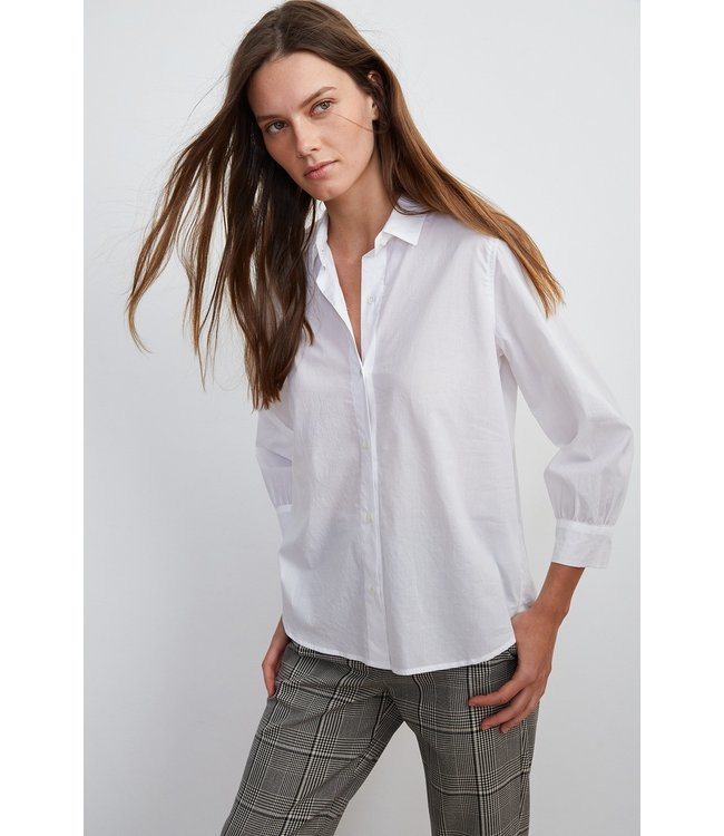 RAYMEE SHIRTING TOP WHITE-