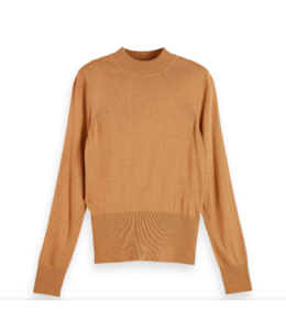 SCOTCH AND SODA KNIT FITTED WAIST SHIRT - CAMEL -