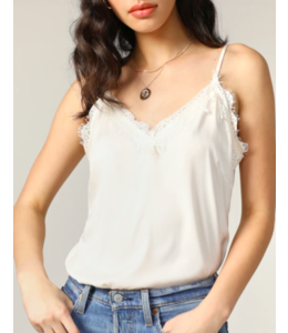 MAXINE CAMI LACE TRIM- WHITE -