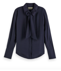 SHIRT WITH BOW AT NECK - NAVY -