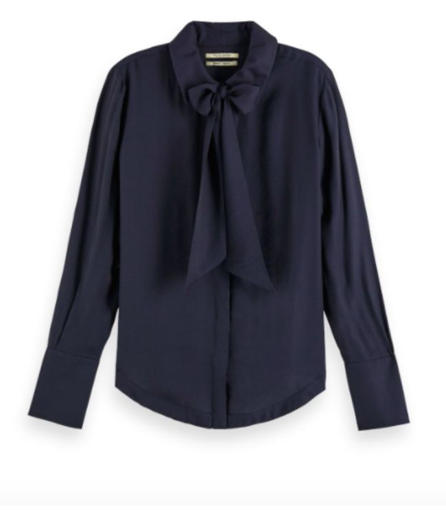 MAISON SCOTCH SHIRT WITH BOW AT NECK - NAVY -