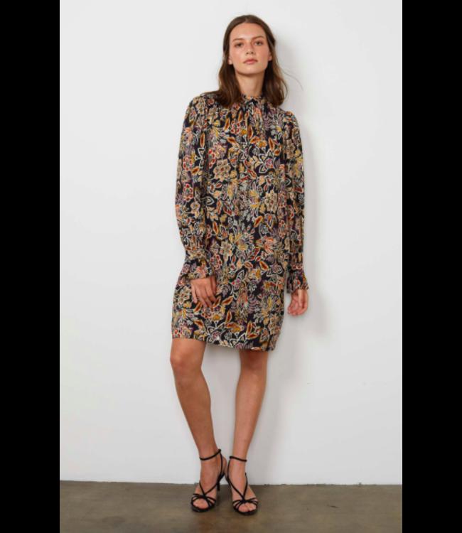PRINTED CHALLIS L/S DRESS FLORAL -