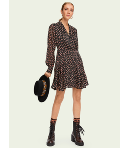 SCOTCH AND SODA LONG SLEEVE STRIPE FLORAL DRESS -