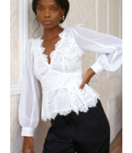 AMY LACE TOP - WHITE -