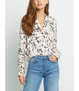 RAILS REBEL - SILK NATURAL ANIMAL BUTTON DOWN -