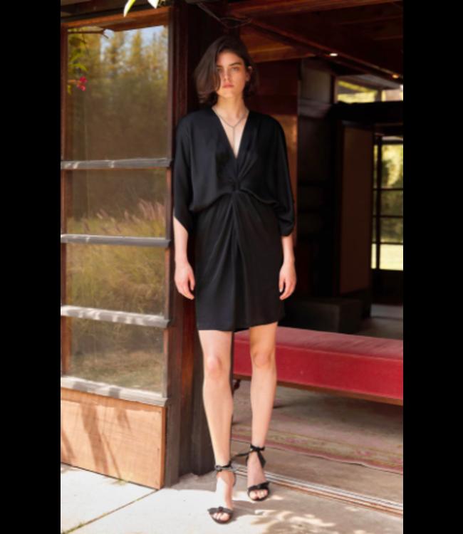 ZOEY04 SATIN DRESS - BLACK