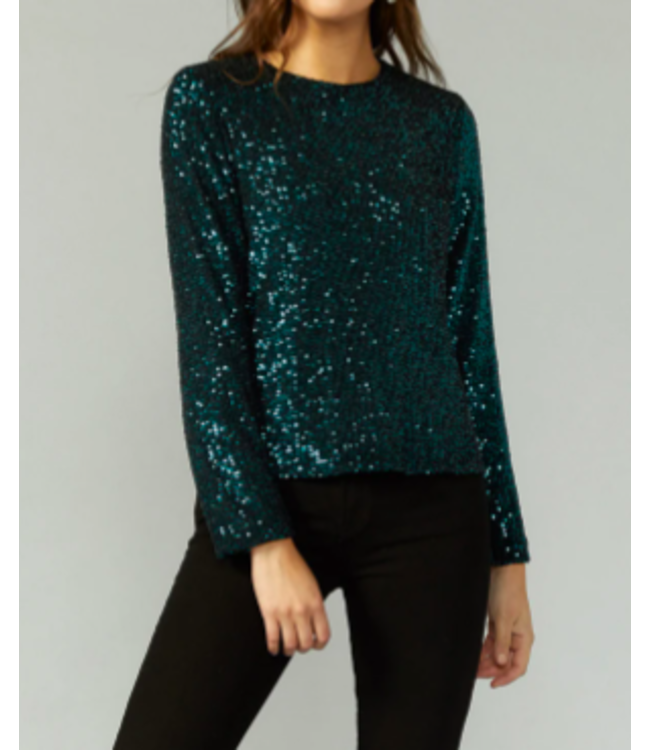 SEQUINS LS TOP - 6172 - GREEN