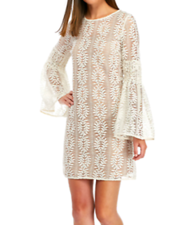 SLEEVE LACE DRESS - BONE