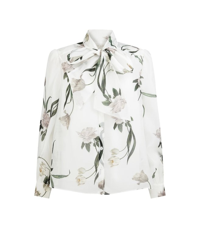 FARAI BOW NECK BLOUSE- WHITE -