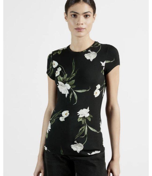 OLIEE TEE - BLACK FLOWERS -