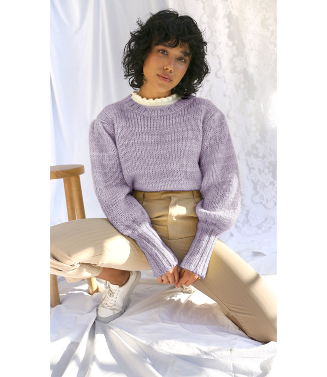 GRACIE PUFF SLEEVE PULLOVER - LILAC -