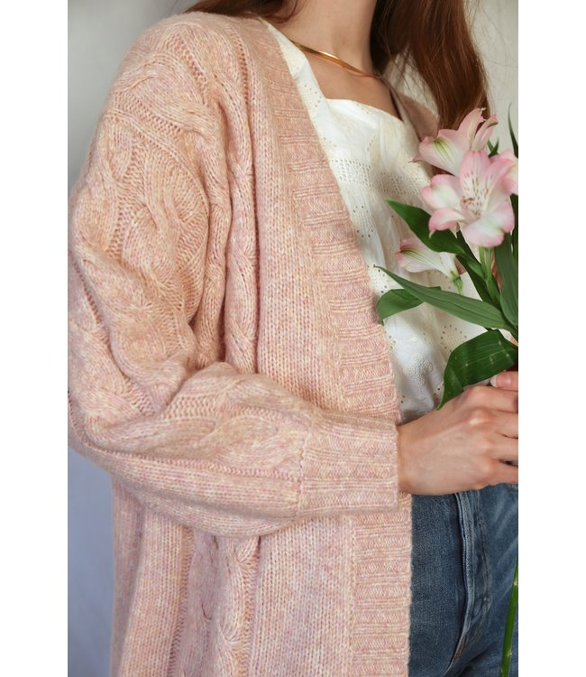 CADELLE HEATHERED COCOON CARDI - PINK -