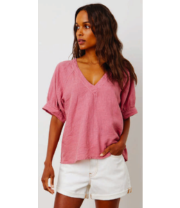 ADLEY WOVEN LINEN V NECK TOP -