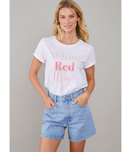SOUTH PARADE Lola - Loose Tee - White Red Rosé - White -