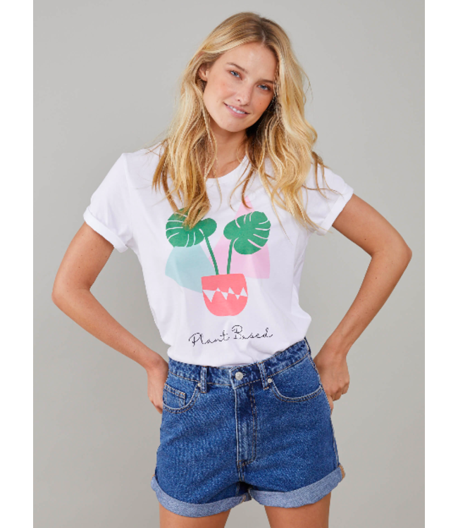 SOUTH PARADE Lola - Loose Tee - Plant Based - White -