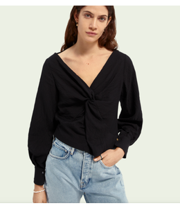 SCOTCH AND SODA V-neck knotted top - Black -