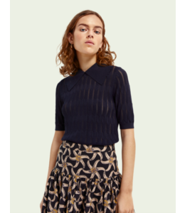 SCOTCH AND SODA Short sleeve knit with scalloped collar -162079-