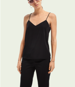 SCOTCH AND SODA Jersey and woven tank -Black -