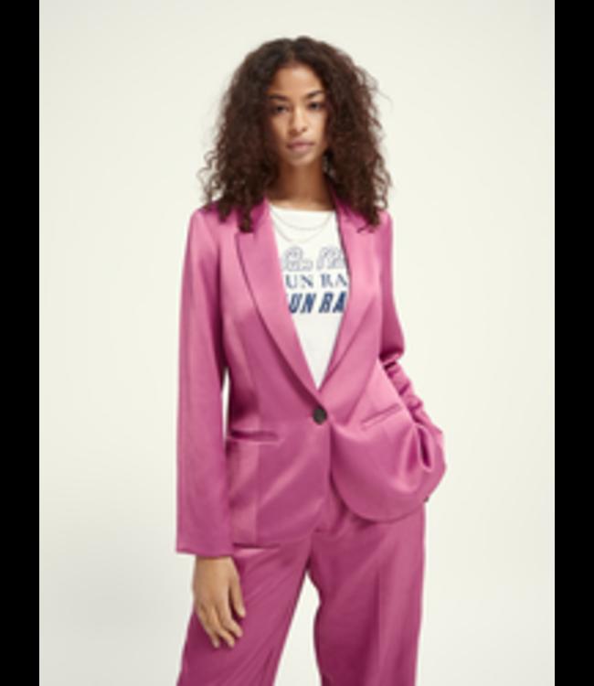 SCOTCH AND SODA Tailored blazer shiny twill - 162190- Pink-
