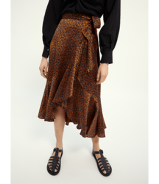 SCOTCH AND SODA Printed wrap skirt - Camel -