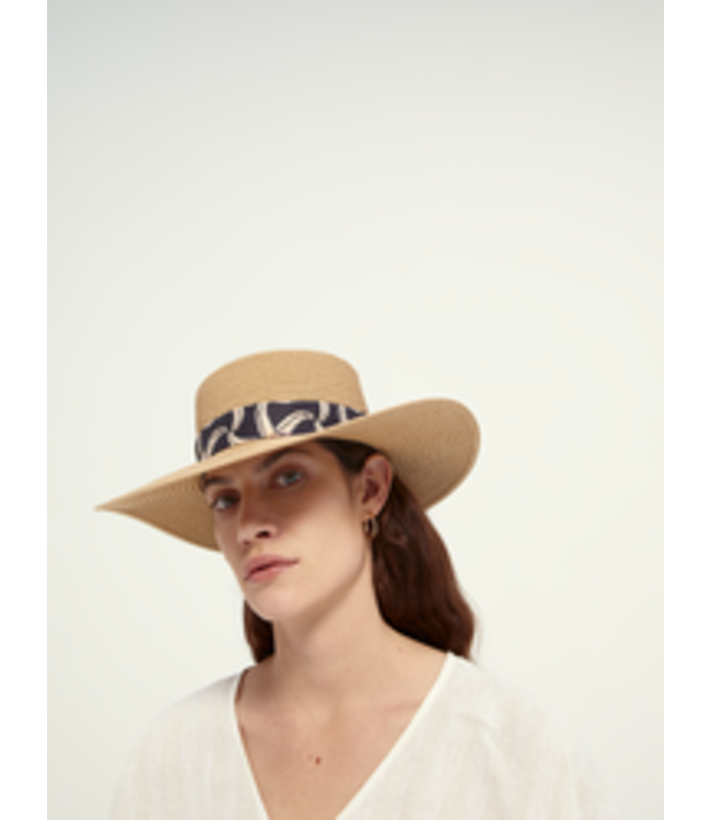 SCOTCH AND SODA Paper straw hat with printed tape -