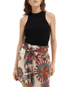 SCOTCH AND SODA High waisted printed viscose shorts -161598-