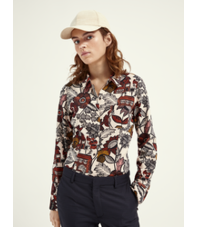 SCOTCH AND SODA Slim fit button up shirt in organic cotton viscose -