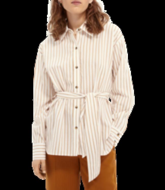 SCOTCH AND SODA Structured stripe shirt in cupro blend -