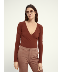 SCOTCH AND SODA Rib jersey wrap over top - 161693 -