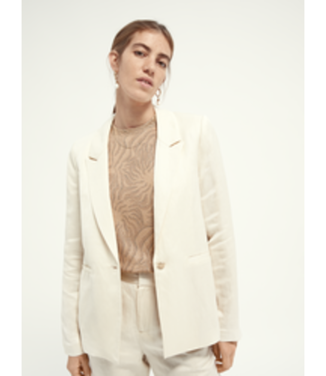 SCOTCH AND SODA Soft drapey blazer in linen blend -161666 -