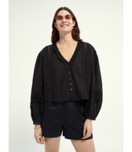 SCOTCH AND SODA Organic cotton top with pin tucks and lace insert -