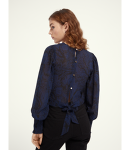 SCOTCH AND SODA Fitted top with smocked detailing -  Navy -