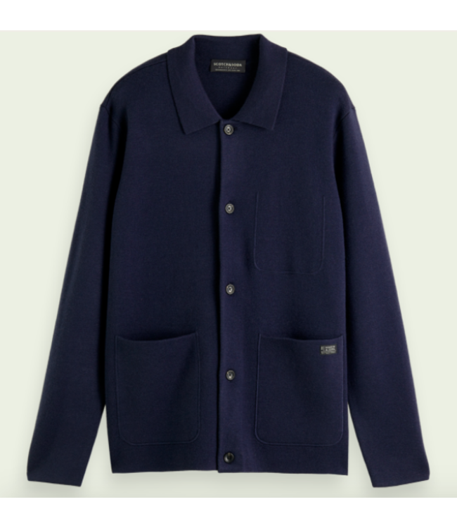 SCOTCH AND SODA Knitted Wool-Blend Worker Jacket - Night  -